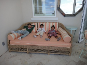 The boys relaxing in style!