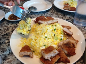 Fried pork with egg fried rice