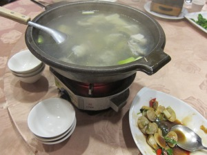 Fish soup (made from the same fish that was steamed earlier)