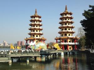 Dragon and Tiger Pagoda in Zuo Ying near Lotus Lake