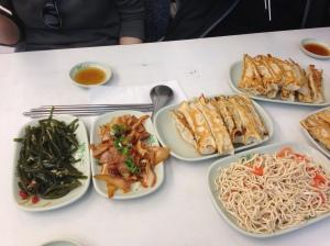 Seaweed salad, pig ears, guo tie, and slivered tofu (gan si)