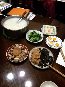 Brocolli, salted duck egg, fried tofu with seaweed and gluten rolls.