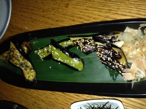 Three different varieties of grilled Japanese eggplant