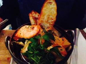 Kimchi Bouillabaise: Mussels, Scallop, Pollack, Shrimp, Fried Tofu, Kombu, White Wine, Korean Chili Paste, Housemade Kimchi
