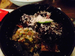 Korean Beef Bourguignon: Braised Grass Fed Short Rib, Glazed Carrot, Chipolini Onion, Shiitake Mushroom, Sliced Granny Smith Apple, Grated Horseradish, Crushed Baked Potato with Garlic Confit