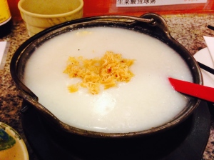 Dried scallop and lotus nut congee from XO Cafe in Manhattan