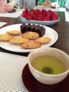Dessert (green tea, madeleines, red bean cake, strawberries)