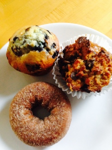 Blueberry muffin, Espresso bread pudding muffin, and cider donut.