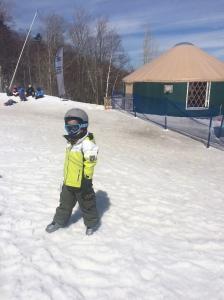 Teo at his ski school yurt.