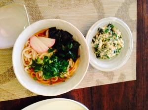 "Udon with Spinach ""shira-ae""- Spinach dressed with tofu"